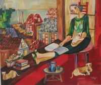 "Sandra Dooley #3768.  ""La Ventana de S,"" 2004. Acrylic on canvas, 47 x 25 Inches. SOLD!"