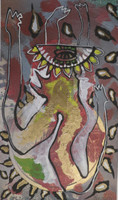 "Carlos Del Toro #3194 (SL) ""Bailarinas,"" N.D. Mixed media on paper. 8.5 x 5.5 inches"