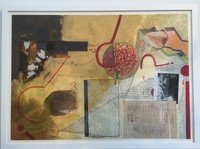 Sandra Ceballos, Untitled, N.D. Mixed media, collage on paper. Framed. 31.5 x 43.25 Inches.  SOLD!