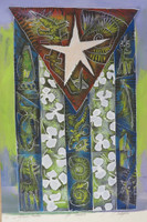 "Carlos del Toro #5615. ""Mi bandera,"" 2013. Mixed media on paper. 24.5 x 16.5 inches.  SOLD!"