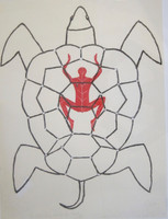 Carlos Estevez #1529.  The soul lives behind the shell. 1998. Monotype print. 30 x 22.5 inches.