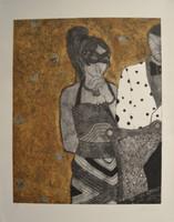"Jenni Ferro #5791. ""Que hable ahora o calle para siempre,"" 2012. Collagraph print editin 8/10. 34 x 26.5 inches."