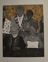 "Jenni Ferro #5793. ""Que hable ahora o calle para siempre,"" 2012. Collagraph print editin 8/10. 34 x 26.5 inches"