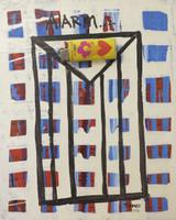 "Remberto Ramirez #5680BX (SL) ""Alarm,"" 2012. Mixed media, oil on canvas. 10 x 8 inches."