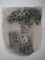Mendive (Manuel Mendive) #5617. Untitled, 2011. Charcoal on canvas. 14 x 11 Inches. SOLD!