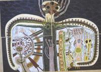 """Regina Fernandez #5465 (SL). """"El creador,"""" N.D.  4 pieces. Crayon/acrylic on paper 19.5 x 27.5 inches."""