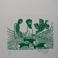 Mendive (Manuel Mendive) #3116. Untitled, 2001.  Serigraph print edition 119/150.     8.75 x 8.5 inches..