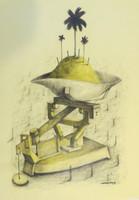 Villalvilla (Camilo Salvador Díaz de Villalvilla Soto)  #5165. Untitled, N.D. Mixed media on paper. 27.5 x 19.5 inches.