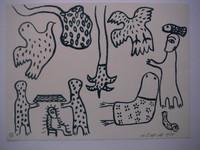 "Mendive (Manuel Mendive) #1815. Untitled, 1998. Serigraph 32/86,  9"" x 12"""