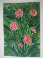 "Tahini #5391. ""Rosas para ti,"" N.D. Acrylic on paper. 12 x 8.5 inches"