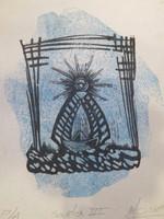 "Moises Finale #6078 (SL) ""Santa III,"" 2014. Linocut print, Artist's proof. 8.5"" x 6.5""."