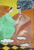 "Juan Karlos Echeverria Franco #3993. ""Dos novios,"" 2005. Oil on paper. 13.75 x 9.5 inches."