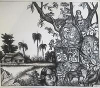 "Ricardo Reyes #6677 (SL) ""Paisaje cotidiano,"" 1997. Ink on paper."