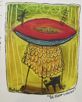 "Martalena #6401 (SL) ""El circo volador,"" N.D. Acrylic on heavy paper. 10 x 8 inches."