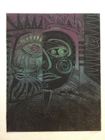"Miguel Angel Lobaina #2393. ""Retrato de reyes,"" 1997. Collagraph printe edition 4/5.  19.25 x 15.5 inches."