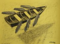 "Villalvilla (Camilo Salvador Díaz de Villalvilla Soto) #5260. ""En otras aguas,"" N.D. Charcoal on paper. 190.5 x 27 inches."