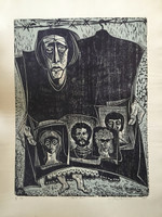 "Jose Vicente Aguilera #2841. ""Santa Nadie,"" 1969. Block print edition 3 of 6.  27.25 x 19.5 inches."