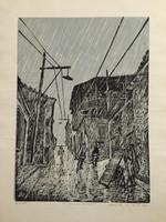 "Jose Vicente Aguilera #2842. ""La lluvia en San Basilio,"" 1968. Block print.  27.25 x 19.5 inches."