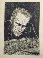 "Jose Vicente Aguilera #2844. ""Senor de Santiago,"" 1977. Block print edition 2/4. 27.25 x 19.5 inches."