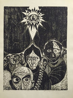 """Jose Vicente Aguilera #2845. """"Los locos por el sol,"""" 1994. Block print edition 3/3.  27.25 x 19.5 inches."""