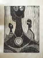 "Jose Vicente Aguilera #2846. ""Tocada del sol,"" 1994. Block print edition 3 of 4.  27.25 x 19.5 inches"