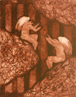 """Càceres (Rafael Angel Càceres Valladares) #2885. """"Entre nubes,"""" 1999. Engraving on paper. 17 x 13 inches."""