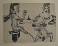 """Leonel Lopez-Nussa  #3143. """"Musicas 47,"""" 1975. Etching print P/A. 13 x 16.5 inches."""
