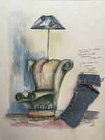 "Alejandro Lopez Bastida #3144. ""De la serie forma funcion,""N.D. Mixed media, pen and watercolor on paper. 13.25 x 18 inches."