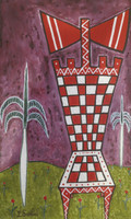 "Sanfiel (Jorge Luis Sanfiel) #3189. ""La silla de Chango,"" 2003. Acrylic on canvas. 11.25 x 7 inches."