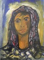 "Salvador (Salvador Gonzalez) #3288. ""Mujer de la Habana vieja,"" 1999. Acrylic on paper. 24 x 18 inches."