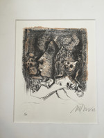 "Nelson Dominguez #3403. ""Mujer y M,"" 2002. Lithograph print edition 1/40.  10 x 8 inches."