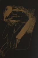 "Nelson Dominguez #3404. ""Mujer sentada,"" 2001. Serigraph print edition 23/25.  13 x 9 inches."