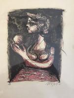 """Nelson Dominguez #3409. """"Mujer con manzana,"""" 2001. Lithograph print edition 14/33.  15 x 11 inches."""