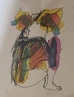 "Nelson Dominguez #3410. ""Murcielago,"" 2002. Lithograph print edition 7/20.  14 x 10 inches."