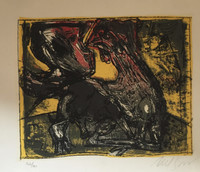 "Nelson Dominguez #3417. ""Gallito,"" 2000. Lithograph screen print edition 32/36.  11 x 13 inches."