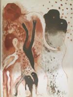 Mendive (Manuel Mendive) #3465. Untitled, 1991. Serigraph print edition 35/120. 27.5 x 20 inches.