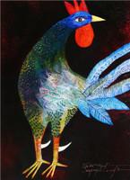 """Montebravo (José Garcia Montebravo) #4959. """"Gallo azul,"""" 2009. Oil on canvas. 32 x 24 inches. SOLD!"""