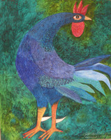 "Montebravo (José Garcia Montebravo) #5053. ""Gallo azul,"" 2009. Oil on canvas. SOLD!"