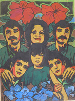"Raúl Martinez, "" La gran familia,"" 1975. Acrylic on cardboard, 40 x 30 Inches. SOLD!"