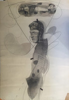 "Ruben Torres Llorca (SL) NFS>  ""El piloto"", 1982. Charcoal on paper, framed,  40  x 28 Inches."