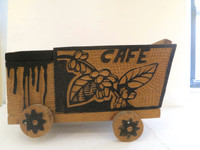 "Abel Barroso (SL) ""Cafe,"" 1997. Mixed media/wood. 6.5 x 11 x 5 Inches. SOLD!"