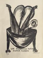 """Gorria (Jorge Perugorría Rodríguez) #4851A. """"Los amores que matan nunca mueren,"""" 2007. Lithograph print edition 3 of 14. 15 x 11 inches."""