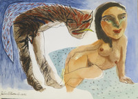 Roberto Brauilo Gonzalez  #3736 (SL) NFS> Untitled, 1996. Watercolor on paper. 10 x 13.75 inches.