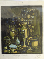"Rocio Villafaña #5363. ""Naturaleza muerta,"" 2007. Wood cut print edition 2 of 9.  14 x 11 inches"