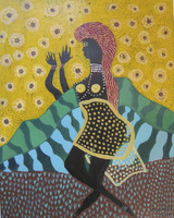 "Beatriz Peña Mayas #5373. ""Oshun,"" 2010. Oil on paper. 18 X 14.25 inches."