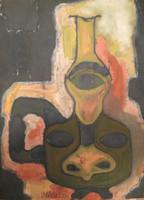 "Mederox (José Mederos Sigler)  #738 Untitled, 1991. Tempera on paper. 20"" x 14.5."""
