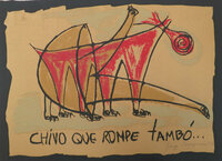 "Gorria (Jorge Perugorría Rodríguez) #5474 (SL) ""Chivo que rompe tambo,"" 2005. Print edition 43/50.   19.75 x 27.5 inches."