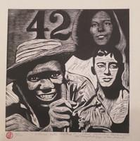 "Raúl Martínez #5483. ""Como esta usted?"" 1977. Linocut print edition 10/12.  15 x 14 inches."