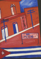 "Daniel Ator  #5654 (SL) ""Calle de Santiago de Cuba,"" 1998. Oil on heavy paper. 13 x 9 inches."