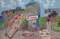 """Yoandris Bolaño Vázquez  #5686. """"El jardin de mi amigo,"""" N.D. Oil on canvas.  17.5 x 26 inches."""